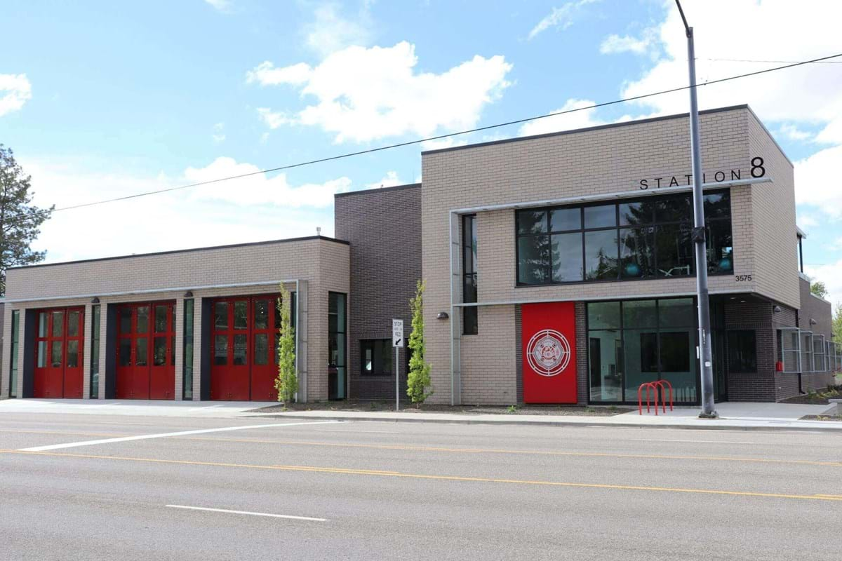 Modern fire station with three garage bays