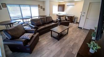 Couches and chairs with coffee table, counter-top tables behind, kitchenette in the corner