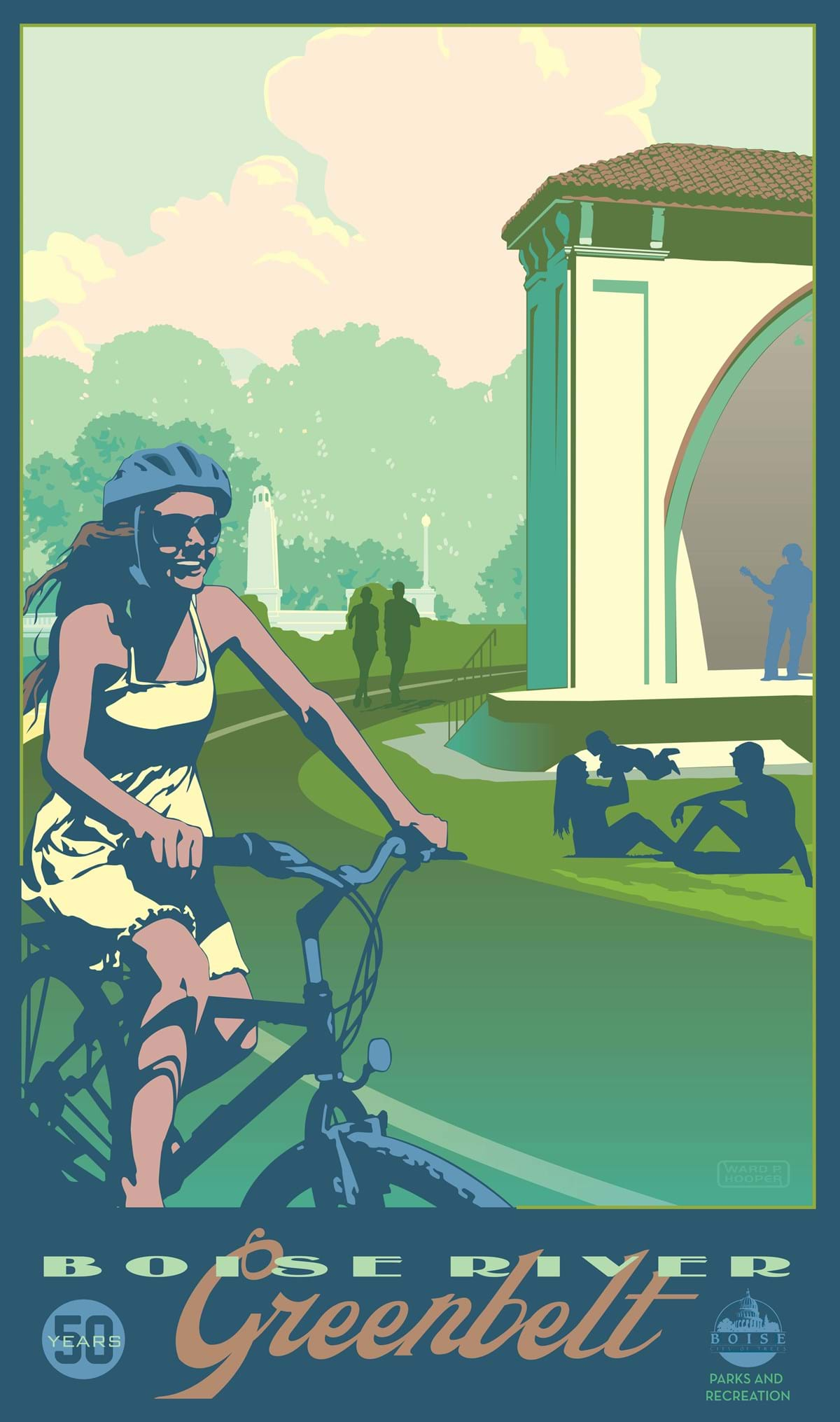 "Poster print of woman riding bike, people running in background, family playing, text on bottom reads ""Boise River Greenbelt 50 years"""