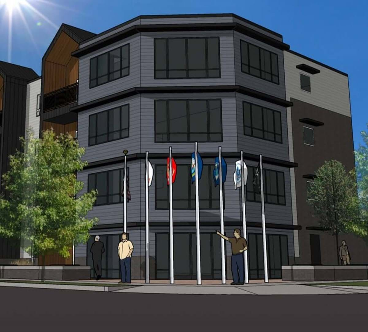 Rendering of a four story building with 7 flag poles in front of it.