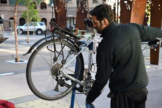 Man working on bike