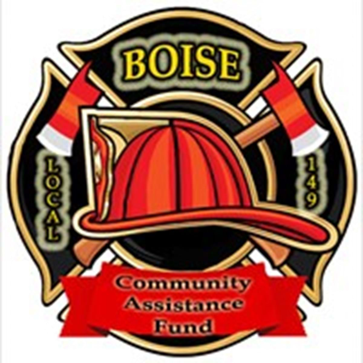 Logo that features a large fire fighter helmet and words Boise Local 149 Community Assistance Fund