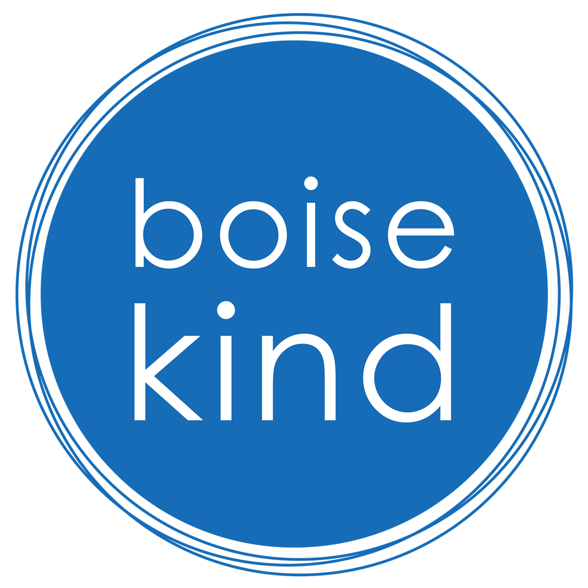 "Logo - blue circle with words ""Boise Kind"""