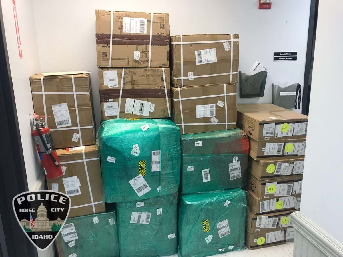 Boise Police contacted Broward County Sheriff's Office in Florida and several boxes shipped to Florida were rerouted back to Boise.