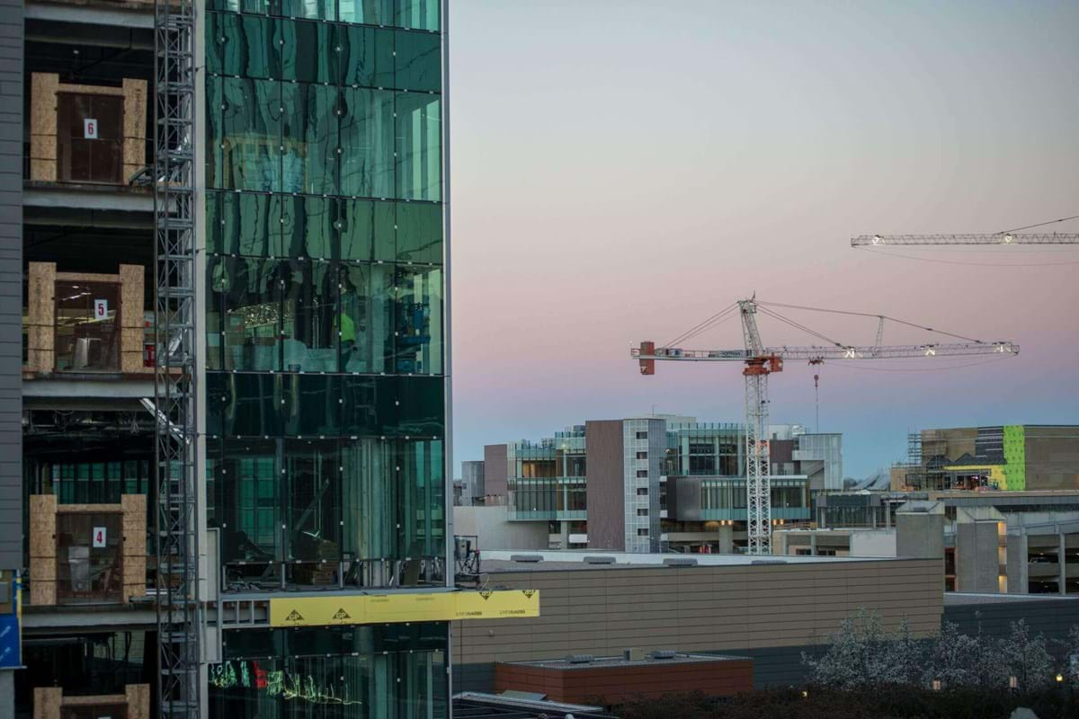 Boise's skyline with construction and a crane.