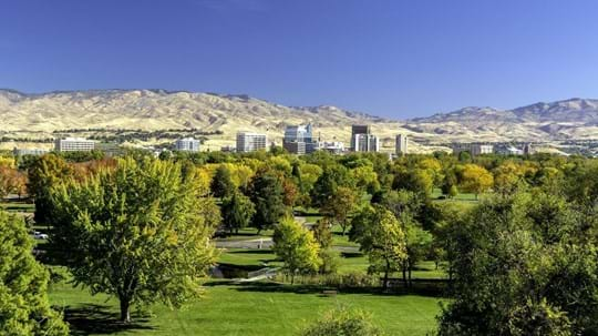 Green park and trees with city skyline and foothills in background