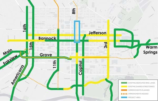 Detailed map showing new propose bike lanes in downtown boise