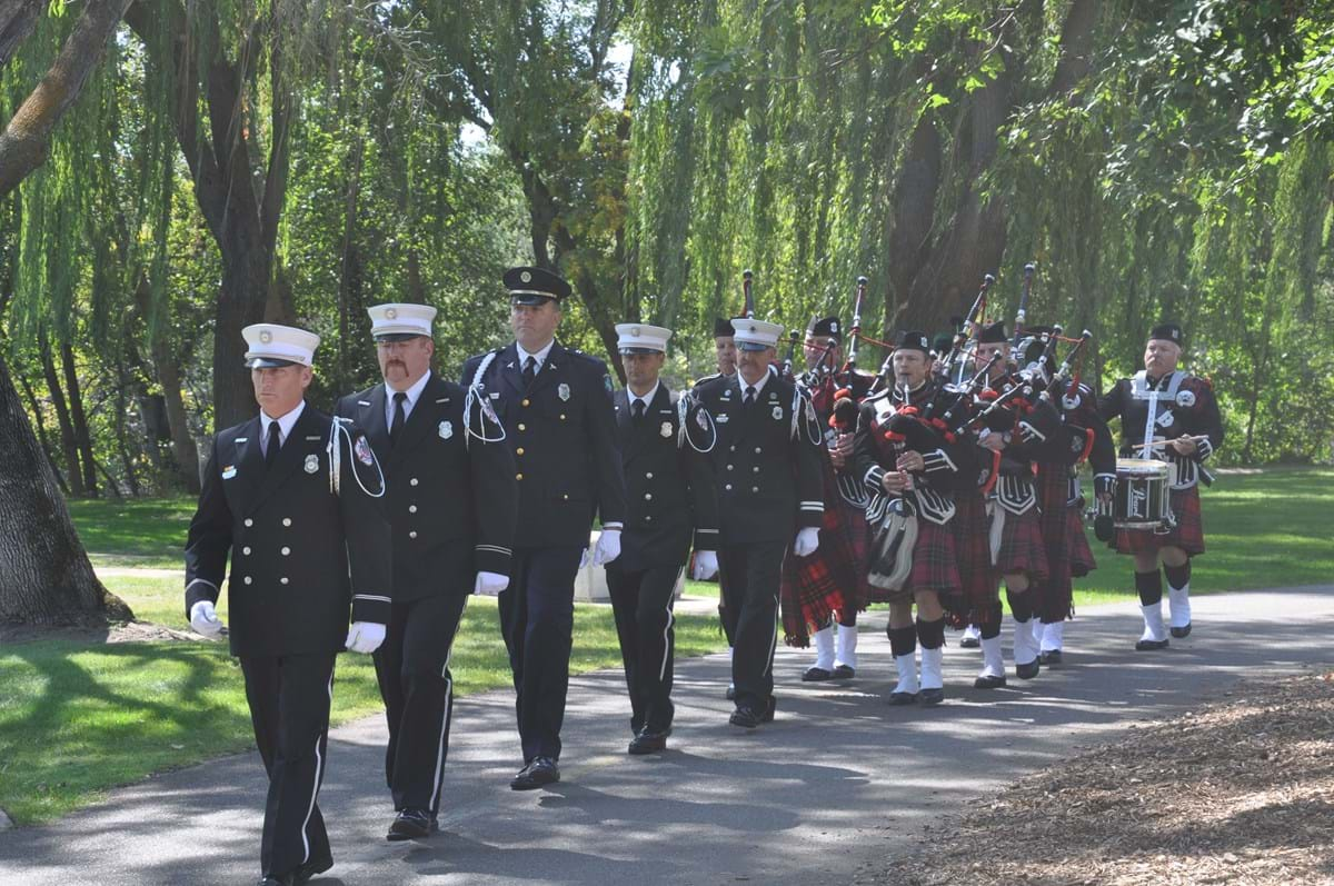 Boise Fire Honor Guard marching down the Greenbelt